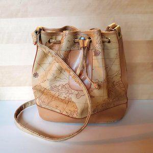 Maskof Italy Vintage World Map Bucket Bag Tan Neutral Vegan Leather